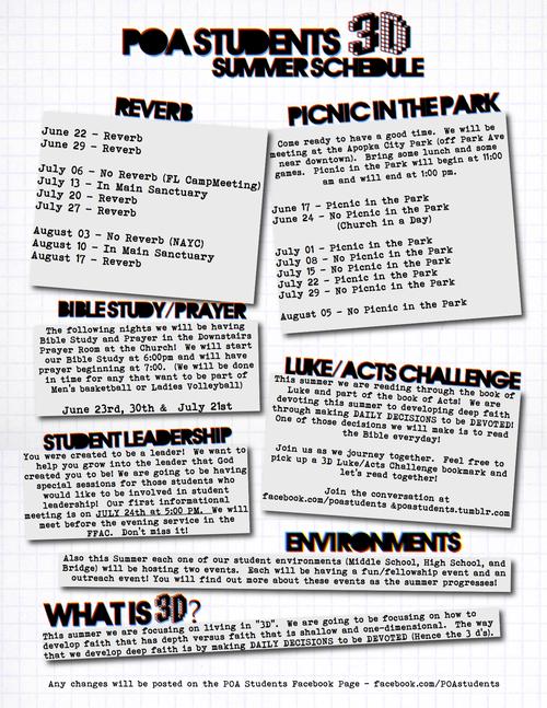 Summer schedule final